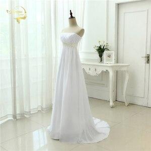 Image 3 - Vestido de novia sin tirantes, traje Empire, para embarazadas, de gasa, blanco marfil, largo, de talla grande, 2020
