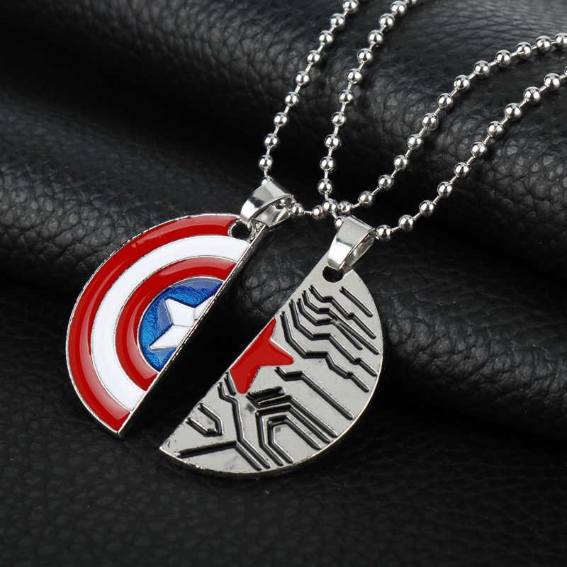Marvel Comics Winter Soldat Captain America Halskette Schild Zeichen Logo Mann der Anhänger Die Avengers Beste Freund/Liebhaber halskette-3