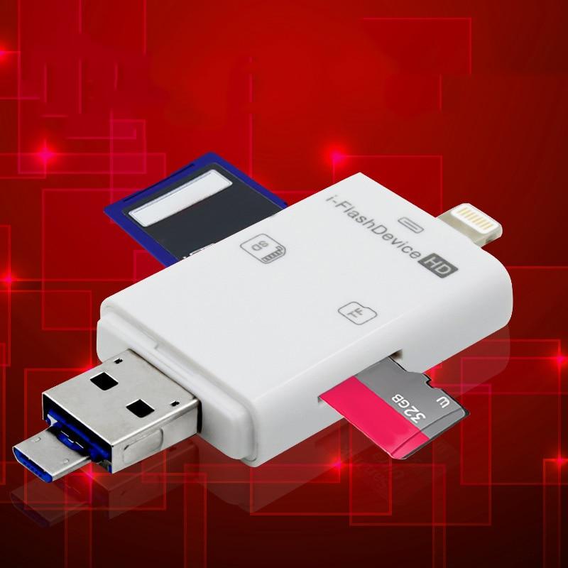3 en 1 Adaptador de lector de tarjetas SD USB multifuncional para iPhone iPad PC computadora 8 DJA99