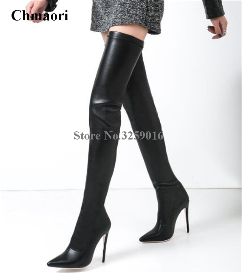 Women Sexy Pointed Toe Black Leather Over Knee High Heel Boots Stiletto Heel Thigh Bandage Long Boots Dress ShoesWomen Sexy Pointed Toe Black Leather Over Knee High Heel Boots Stiletto Heel Thigh Bandage Long Boots Dress Shoes