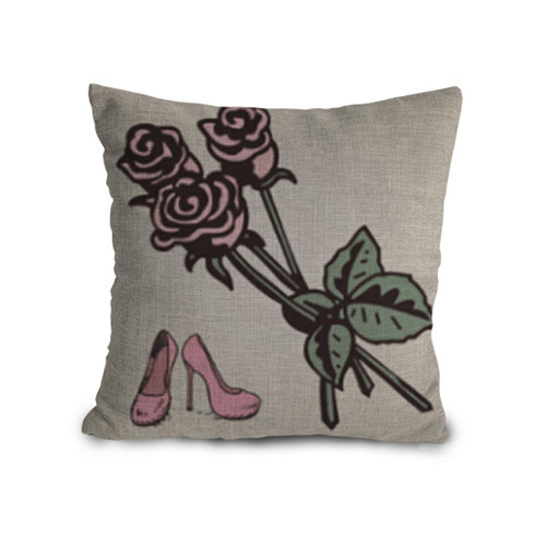45x45cm Custom Red High Heels Rose Printed Cotton Linen Decorative Throw Cushion Cover