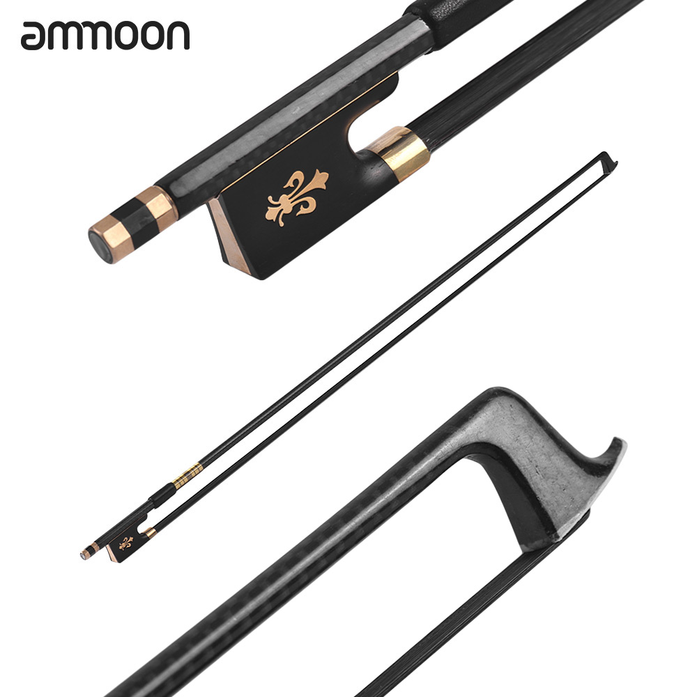 ammoon 4 4 Violin Bow Black Horsehair Fiddle Bow Carbon Fiber Round Stick Ebony Frog Well