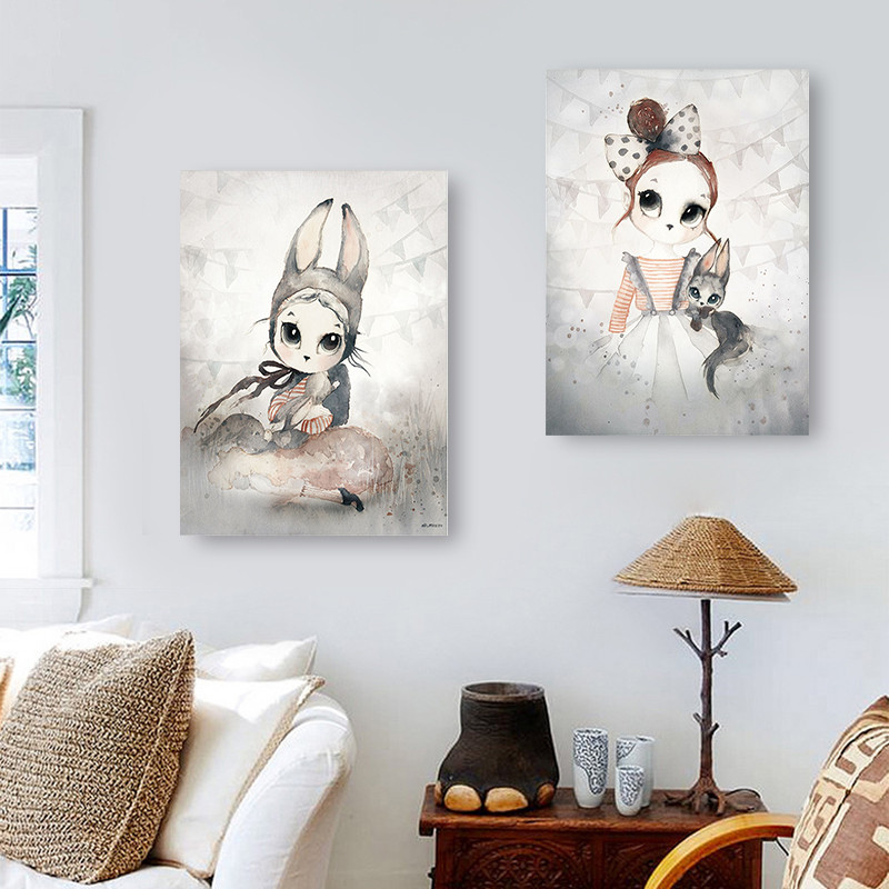 Home Decor Nordic Canvas Painting Wall Art Rabbit Girl Animal Abstract Watercolor Print Kid Bedroom Living Room Poster Picture #3