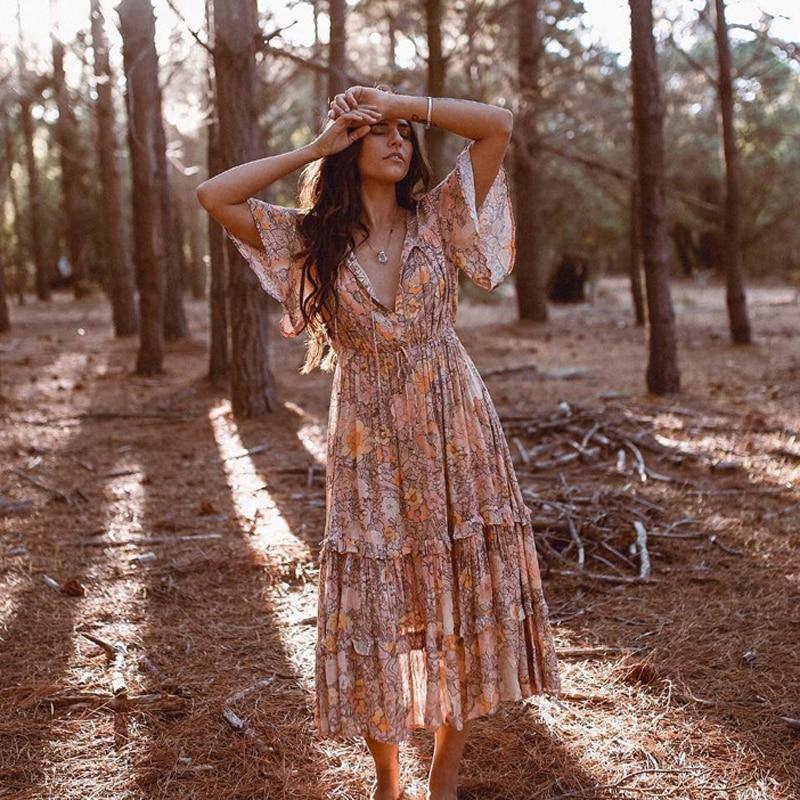 Vintage 2019 été Boho robe Floral imprimé élastique taille robes Flare manches volants longue robe femmes plage vacances robe