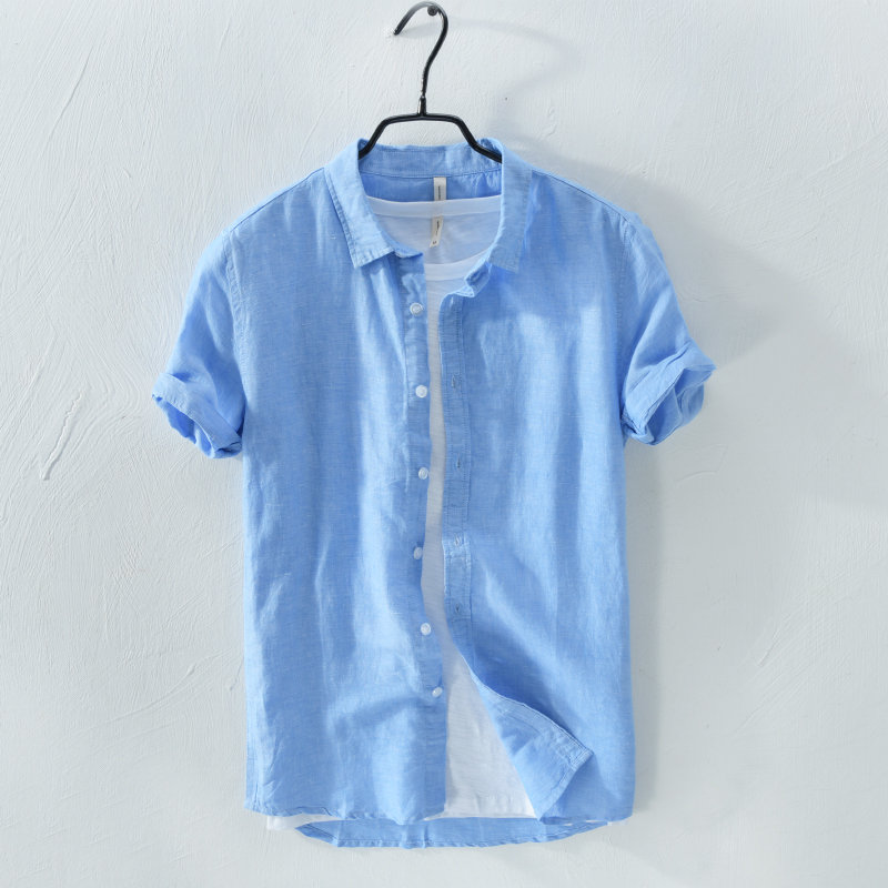 New style short sleeve summer men shirt linen solid blue shirts men casual fashion shirts male dropshipping chemise hommes