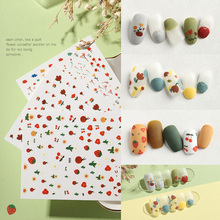 3D Nail Art Stickers coloful Small fresh flowers Strawberry  shape Water Transfer Slider For Nails Z0124