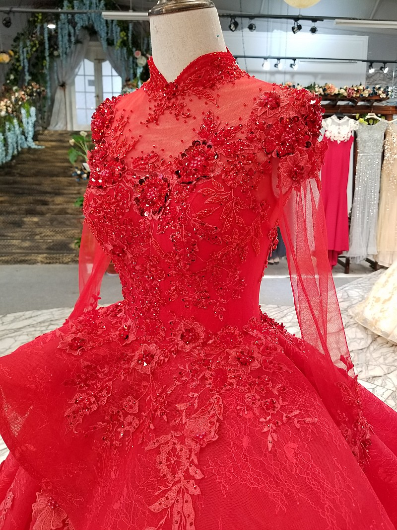Image 5 - LS0993 red high neck brides wedding party dresses long tulle sleeve lace up back beauty cheap evening dress real price as photosEvening Dresses   -