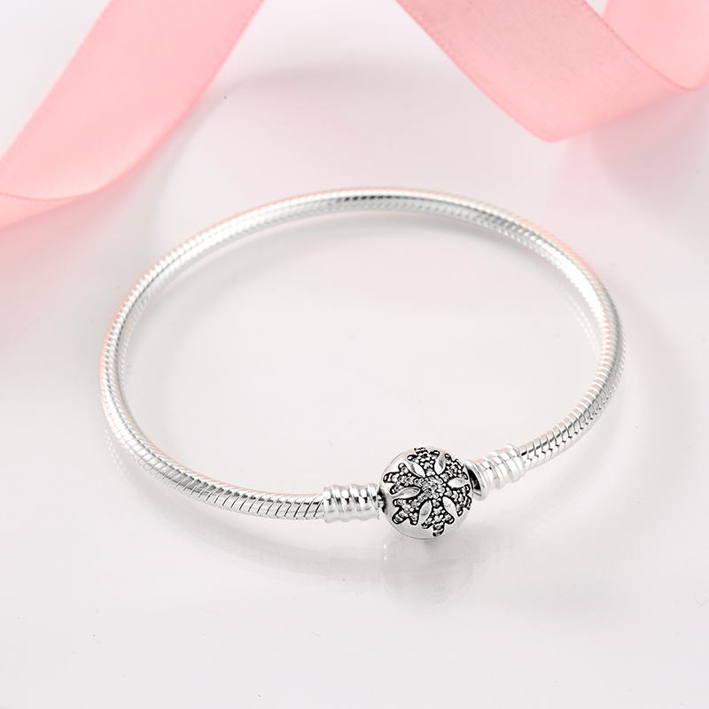 Image 3 - 925 Sterling Silver Snowflake charms Bracelet Engrave Dazzling  Clear CZ Round Clasp Rope Chain for Women DIY JewelryCharm Bracelets
