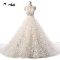 Real Picture Elegant Scoop Appliqued Beads Flower Wedding Dress Long Train Bridal Gown Wedding Ceremony Vestido
