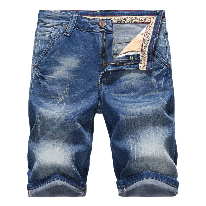 2019 Summer New Men's Washed White Denim Shorts Fashion Casual Slim Elastic Cotton Short Cat Whisker Jeans Male Brand Clothes