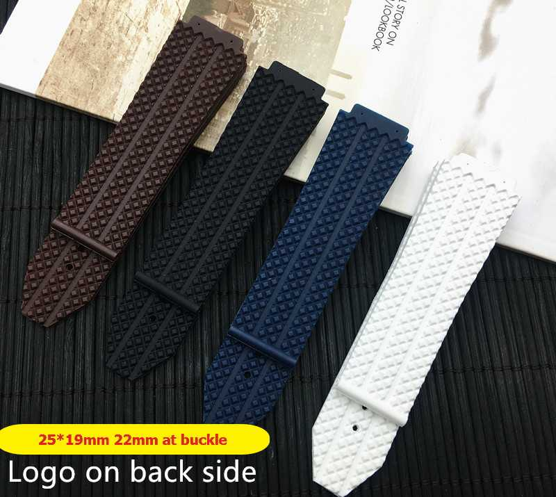 Blue 26x19 25*19mm Silicone Rubber Watch Belt Watchband For Hublot strap for Big Bang Deployment Clasp Double Push Buckle logo