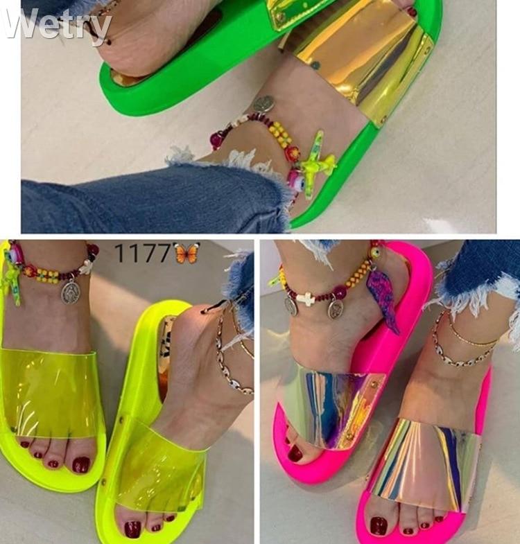 Bling Summer Women Slipper New Ladies Open Toe Comfort Slip On Flat Leisure Sandals Female Outdoor Beach Shoes Zapatillas