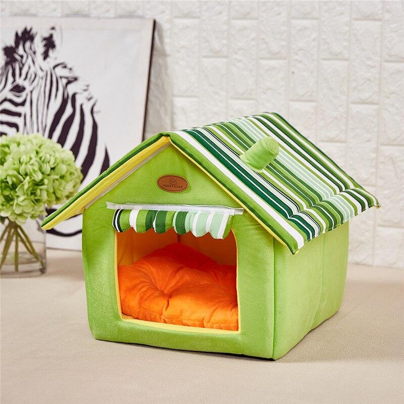 Nueva moda desmontable rayas cubierta perro casa camas para mascotas gato perros pequeños sofás camas para pequeño mediano los perros productos para mascotas