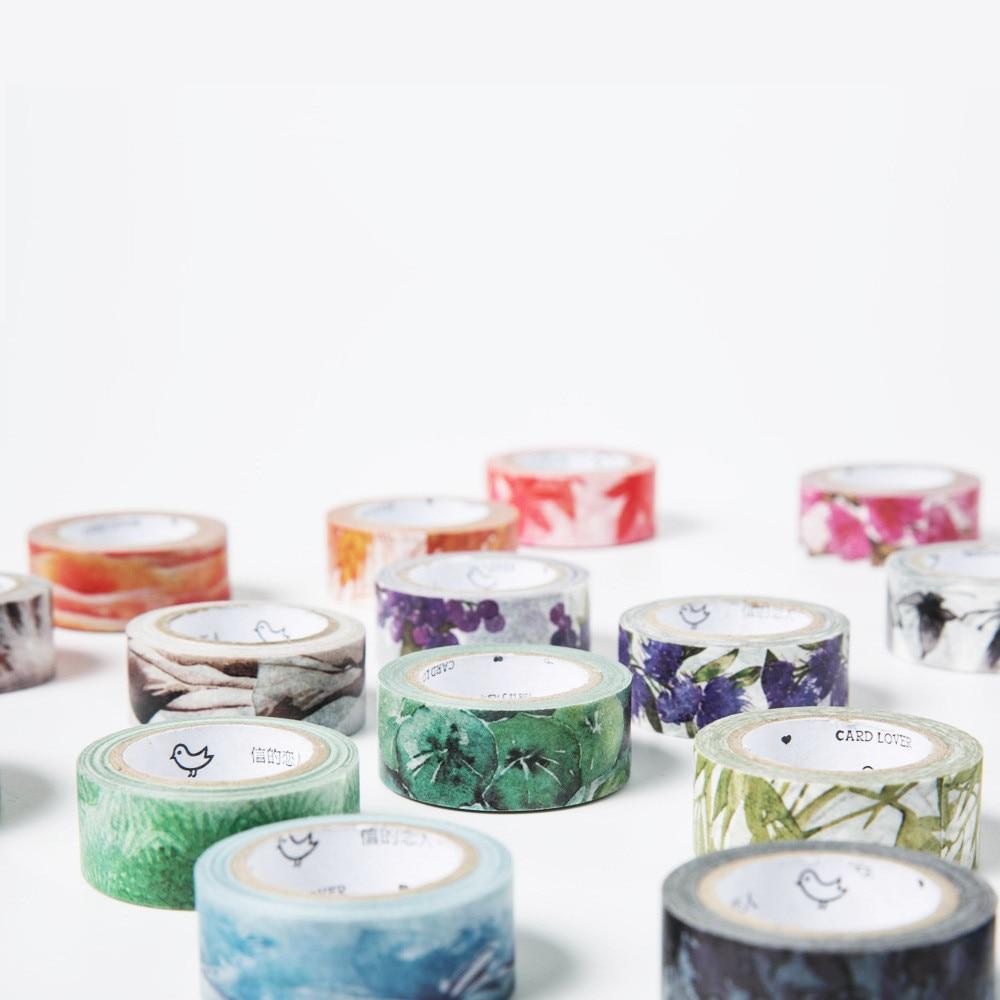 7M Japanese Cute Kawaii Colorful Flowers Leaf Masking Washi Tape Decorative Adhesive Tape Diy Scrapbooking School Office Supply