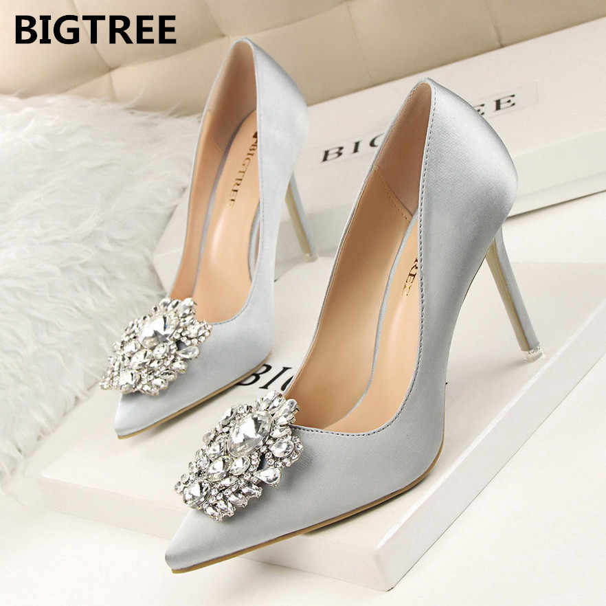 BIGTREE New 2019 Spring Autumn Women Pumps Elegant Rhinestone Silk Satin High Heels Shoes Sexy Thin Pointed Single Shoes 7 Color