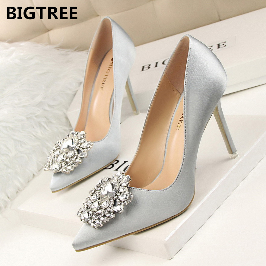 BIGTREE New 2017 Spring Autumn Women Pumps Elegant Rhinestone Silk Satin High Heels Shoes Sexy Thin Pointed Single Shoes 7 Color koovan women pumps high heels 2017 spring autumn tide diamond tip fine single shoes satin pearl shallow mouth women sandals