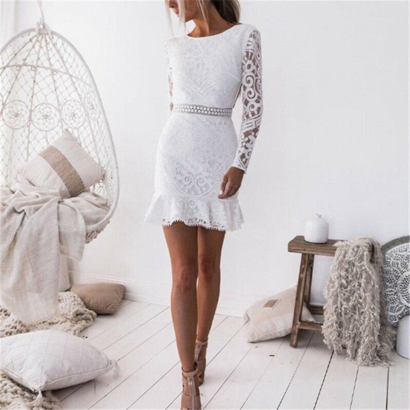 Heiße Frauen Sexy Abend Party Kurze Mini Kleider Damen Sexy Weiß Spitze Langarm Kleid Bodycon Backless Bleistift Kleid Vestidos