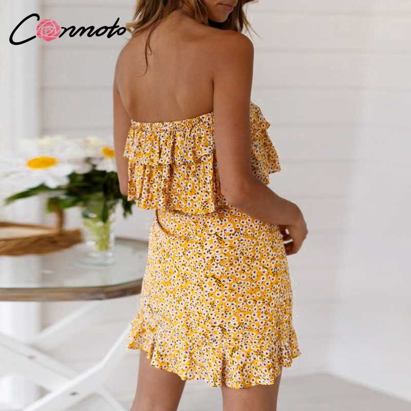 Conmoto/желтое женское платье с оборками и цветочным рисунком, вечерние платья без бретелек, летние платья 2019, сексуальное короткое пляжное платье Vestidos