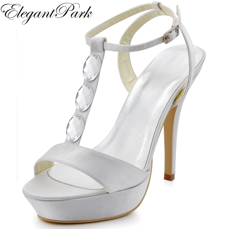 Summer Woman Sandals EP2091-PF High Heel Open Toe Rhinestone Satin Lady Bride Bridal Wedding Prom Party Shoes White Ivory Silver