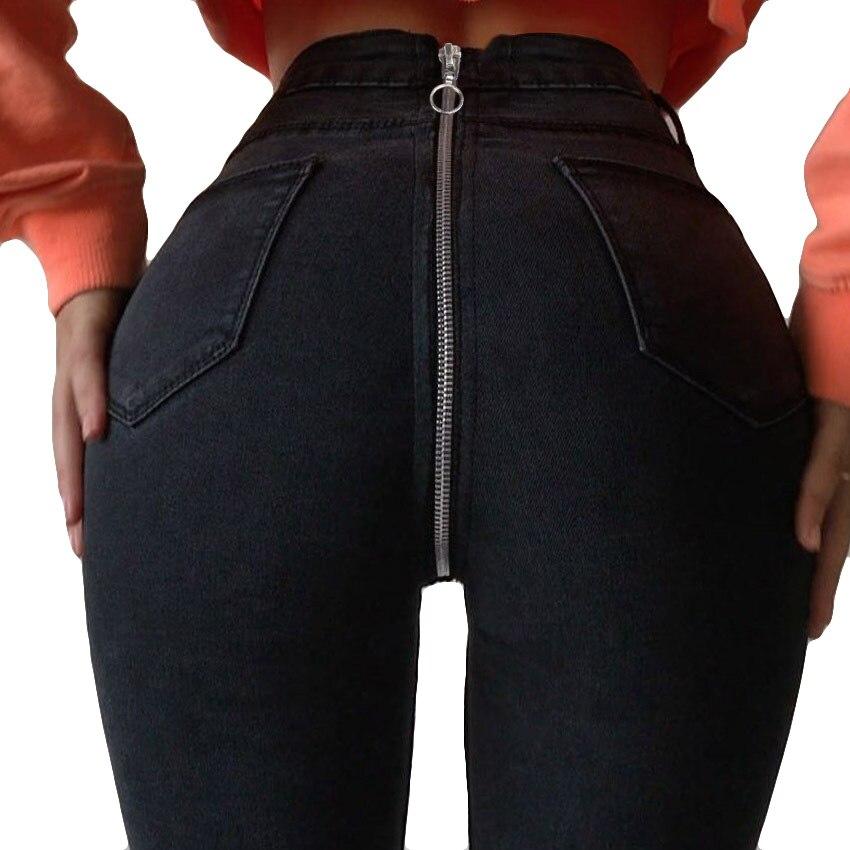 Black Long Jeans Women Basic Classic High Waist Skinny Pencil Blue Denim Pants 2018 Autumn Back Zipper Elastic Stretch Jeans