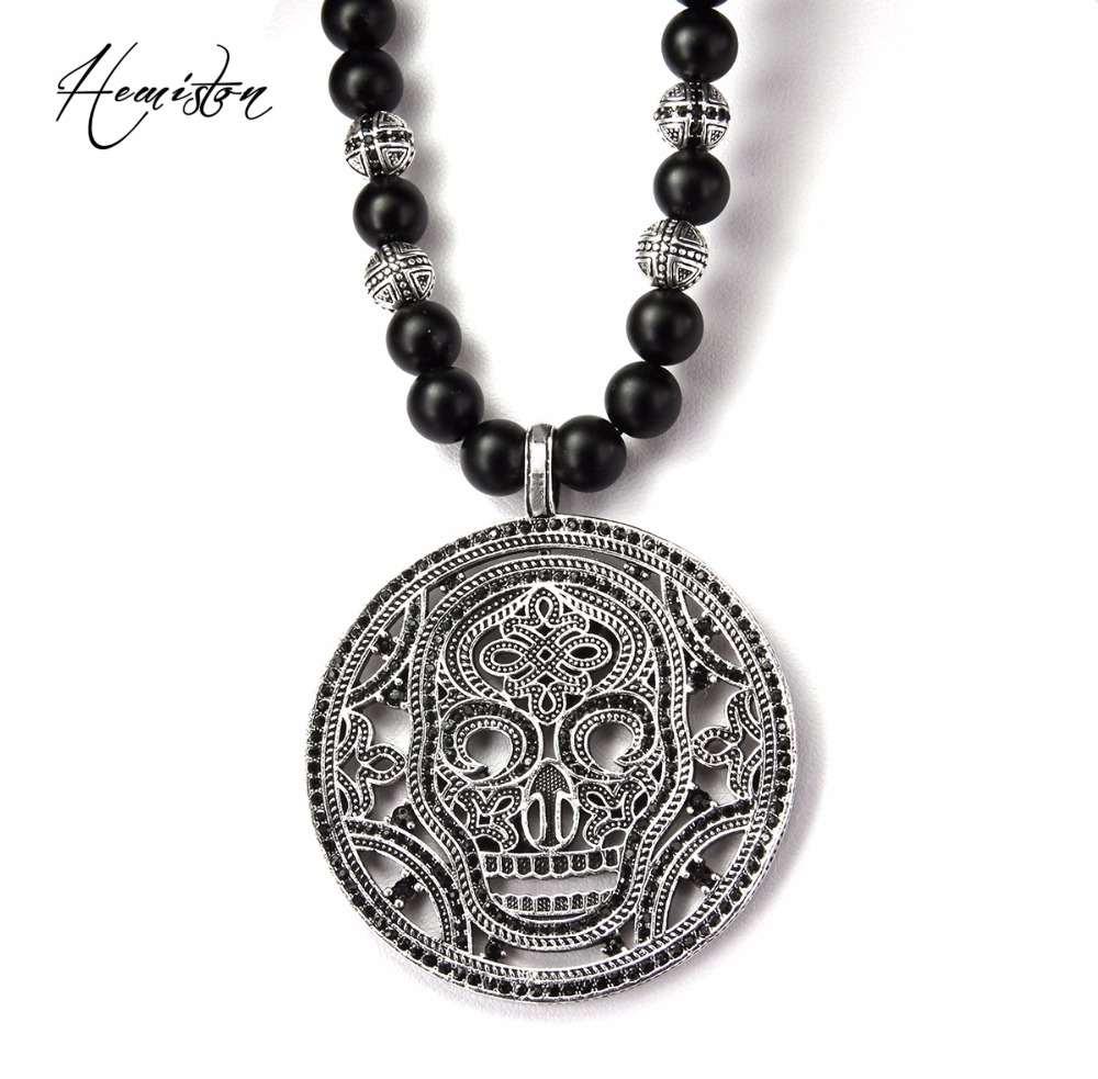 Thomas Obsidian & Hero Cross Bead Necklace with A Big Skull Mask  Disc Pendant, European Rebel Heart Jewelry for Men TS-B509