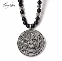 Thomas Obsidian & Hero Cross Bead Necklace with A Big Skull Mask Disc Pendant, European Rebel Heart Jewelry for Men TS B509