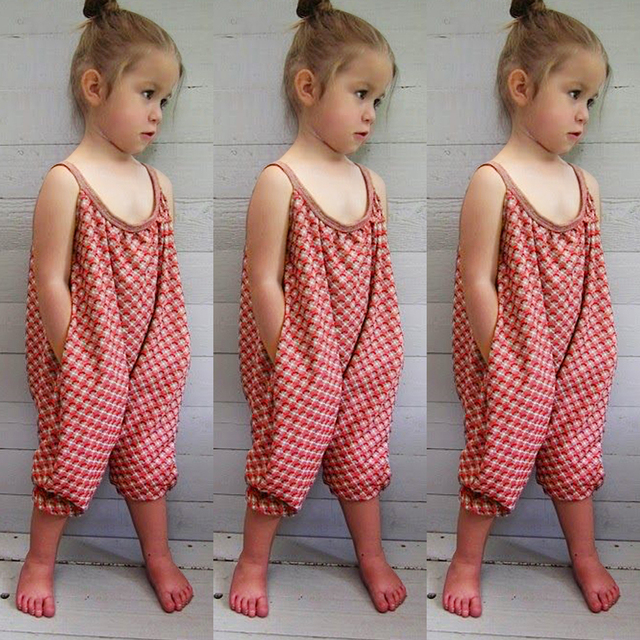2017 Toddler Kids Baby Girl Strap Harem Pants Romper Jumpsuit Bebe