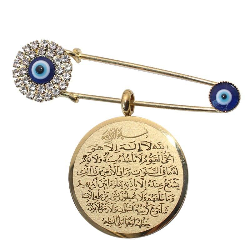 ZKD islam muslim Allah AYATUL KURSI evil eye Stainless Steel Scarf Hijab crystal Stainless Steel Pin brooch все цены
