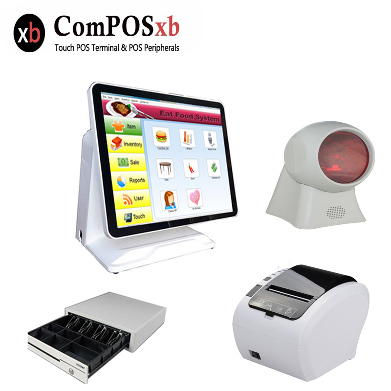 Pure screen 15 inch cash register with printer cash drawer Customer display and scanner all in one pc pos system for restaurant pure screen 15 inch cash register with printer cash drawer customer display and scanner all in one pc pos system for restaurant