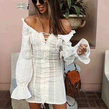 Cuerly 2019 sexy off shoulder women long sleeve ruffled dress summer party club chic lace embroidery floral sheath mini dresses