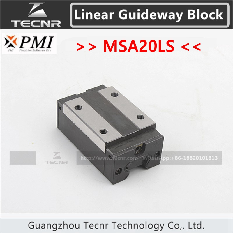Taiwan PMI linear guideway slide carriage block MSA20LS slider for CO2 laser machine linear guide motion reasonable price guideway rail toothed belt drive for laser machine mechanical parts