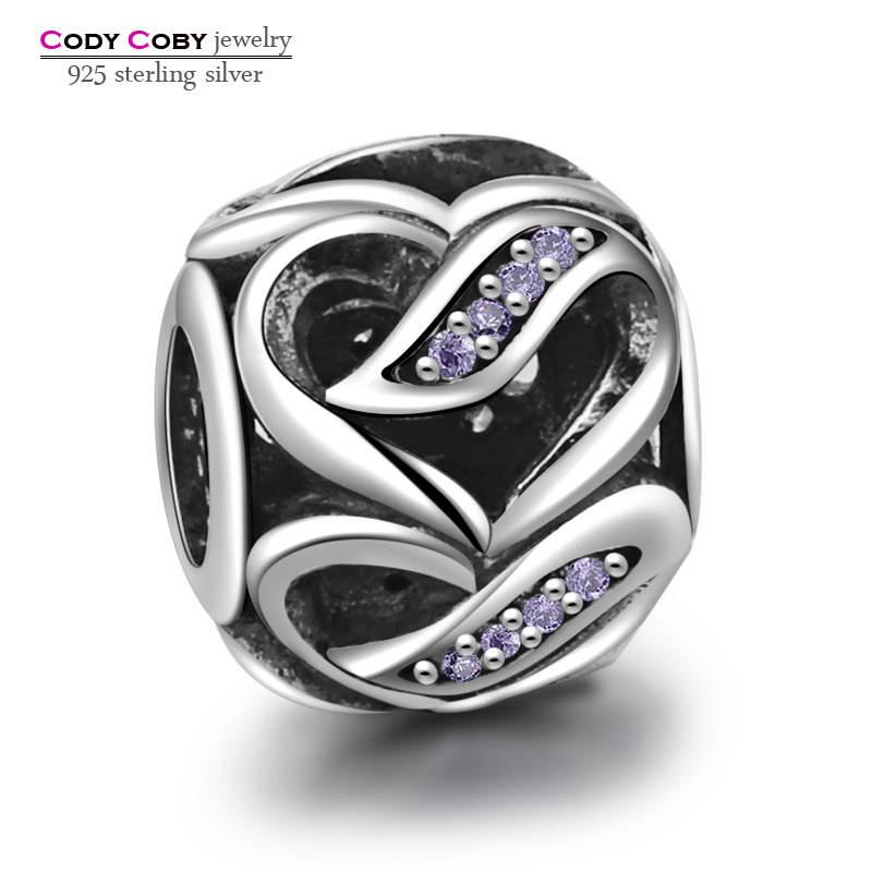 df9ba26a4 ... Fits Pandora Bracelets Ribbon of Love Heart Beads With Purple Crystal  100% 925 Sterling Silver pandora white gems hearts bead charms Wholesale ...