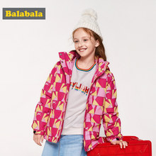 Balabala Girl 2 in 1 Outdoor Jacket with Detachable Lightweight Down Jacket with Baseball Collar Print Hooded Jacket Windbreaker(China)