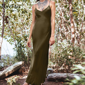 Image 2 - Forefair Sexy Maxi Satin Dress Summer Women Slit V Neck High Waist Off Shoulder Black Red Silk Slip Dress Party Club