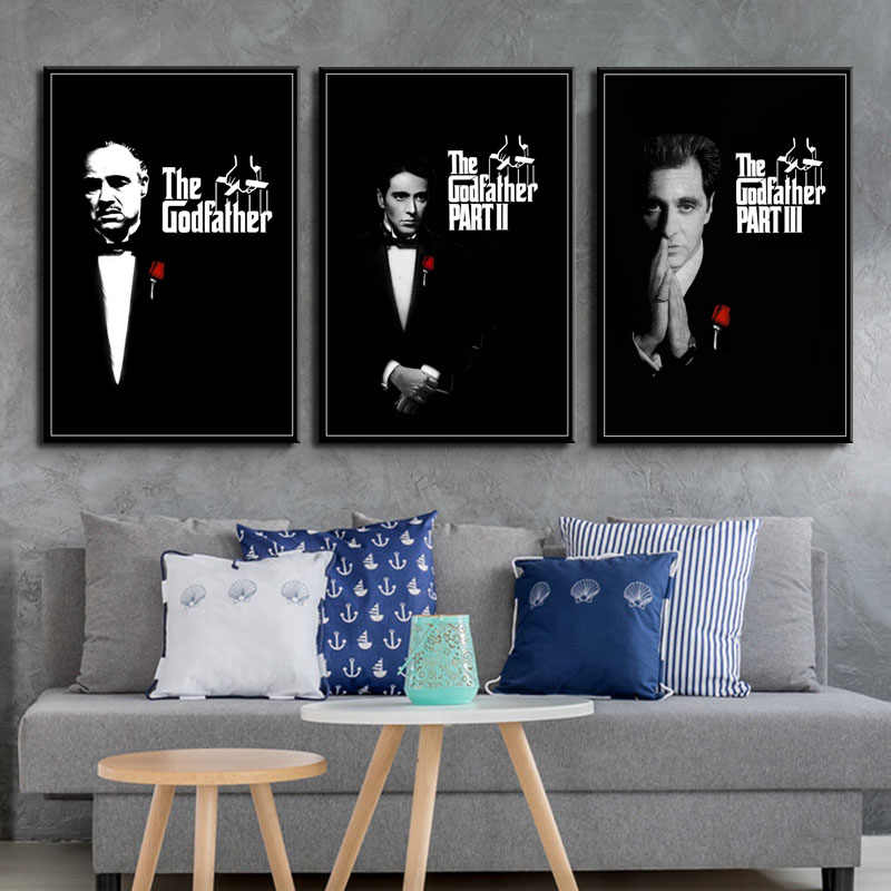 P048 The Godfather Movie Series Marlon Brando Al Pacino Classic Art Silk Canvas Poster Wall Home Decor Artwork