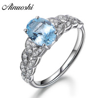 AINUOSHI 925 Sterling Silver Blue Topaz Ring 3ct Oval Cut Natural Sky Blue Topaz Leaf Engagement Ring For Female Trendy Jewelry
