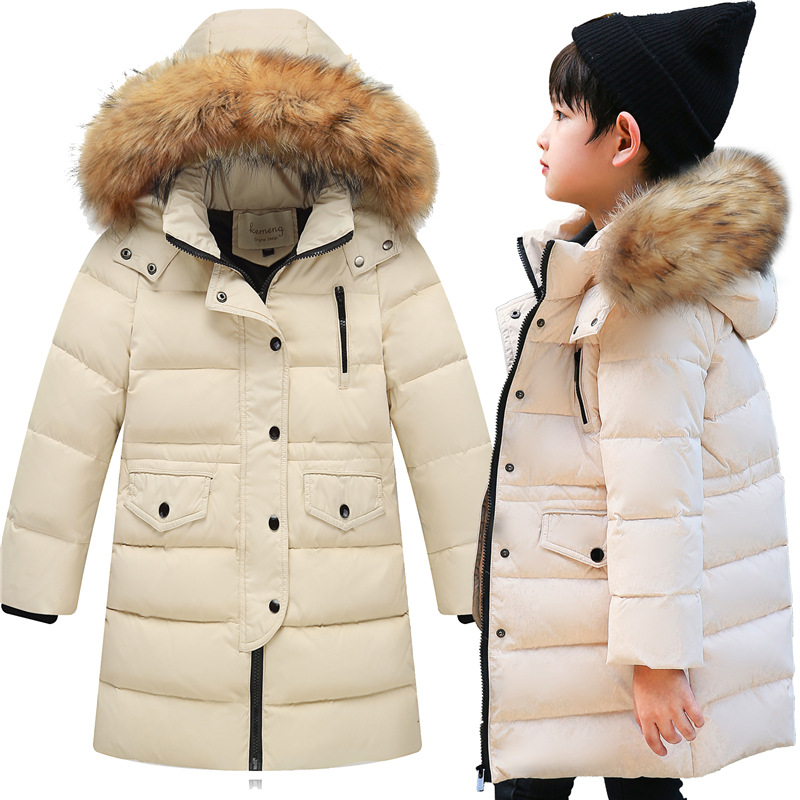 Фото ESCERO Children Winter Down Girls Thick Warm Down Jackets Boys Long Big Fur Hooded Outerwear Coats Kids Down Jacket Girl