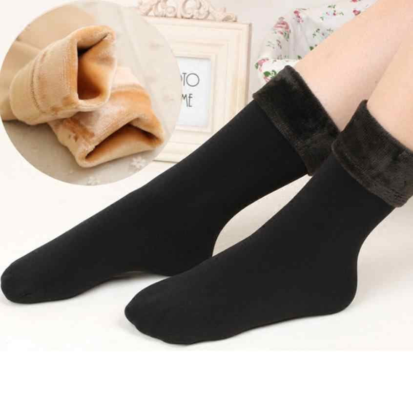 Wool Cashmere Women Thicken Thermal Soft Casual Solid Winter Socks High Quality Thermal Moistureproof Women Sock Sokken Meias