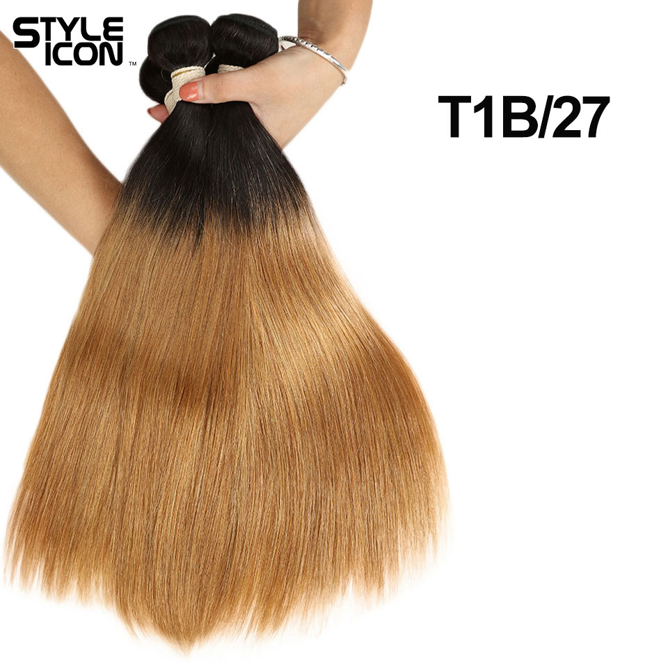 Styleicon Hair 3 4 Bundles Mongolian Straight Hair Bundles Color T1B/27 T1B/30 T1B/99J Double Weft 8-22 Inch In Stock