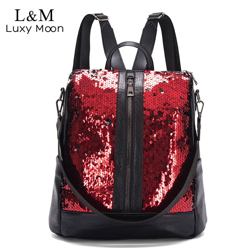 Fashion Sequins Women Backpack Bag Travel Purse Laptop Backpack Bookbags Backpacks For Teenage Girls Luxury Mochila Mujer XA255HFashion Sequins Women Backpack Bag Travel Purse Laptop Backpack Bookbags Backpacks For Teenage Girls Luxury Mochila Mujer XA255H