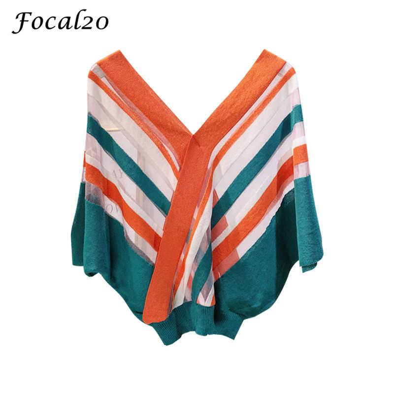 Focal20 ストリート観点カラーストライプ女性ブラウスシャツ V ネック半袖夏女性ブラウストップ