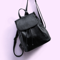 Korean Style Fashion Backpack for Women Genuine Leather Top Leather Black Backpacks Student Casual School Bag Back Bags As Gift