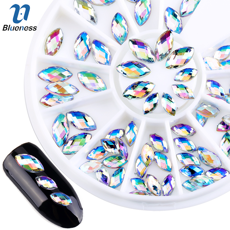 Blueness Colorful Marquise AB 3D Nail Art Tips Glitter Rhinestones For Nails DIY Charms Horse Eyes Manicure Decoration ZP013 1000pcs lot ab color marquise nail art rhinestones women decoration diy nail jewelry accessories 3d nail art supply tools wy505