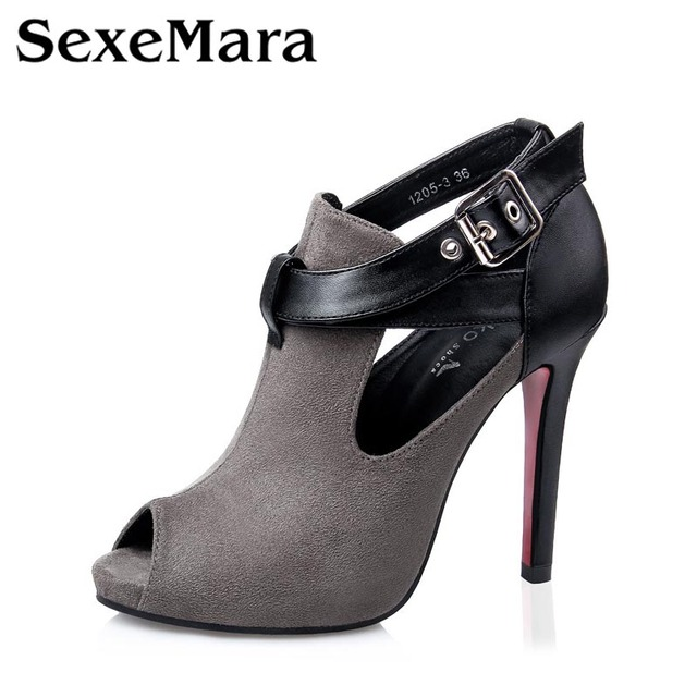 Spring Summer Women Pumps Fashion New Belt Buckle Open Toe Sandal High Heels Shoes Heeled Nightclub Sexy Female Shoes 1227