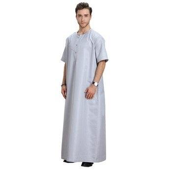 Арабская одежда для мужчин, мусульманская юбба, Арабская одежда с коротким рукавом, чистый белый цвет, модная африканская абайя, абайя, Мужс
