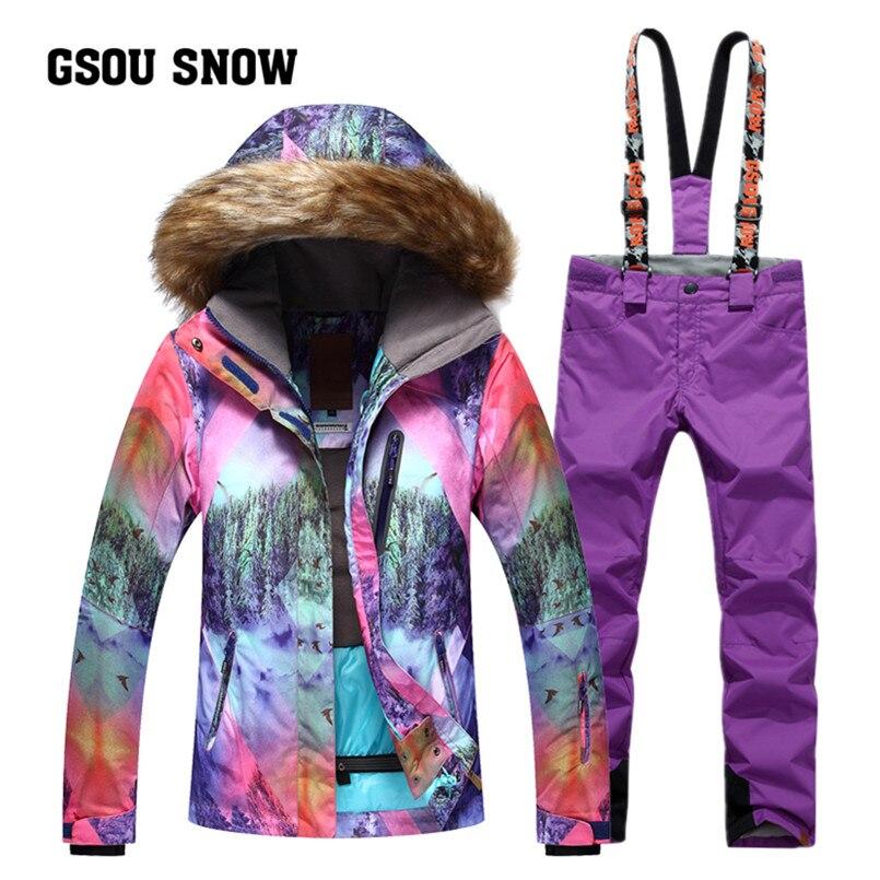 2018 Gsou neige femmes Ski vestes pantalons ensembles dames Ski costume imperméable coupe-vent chaud Sport extérieur Snowboard manteau