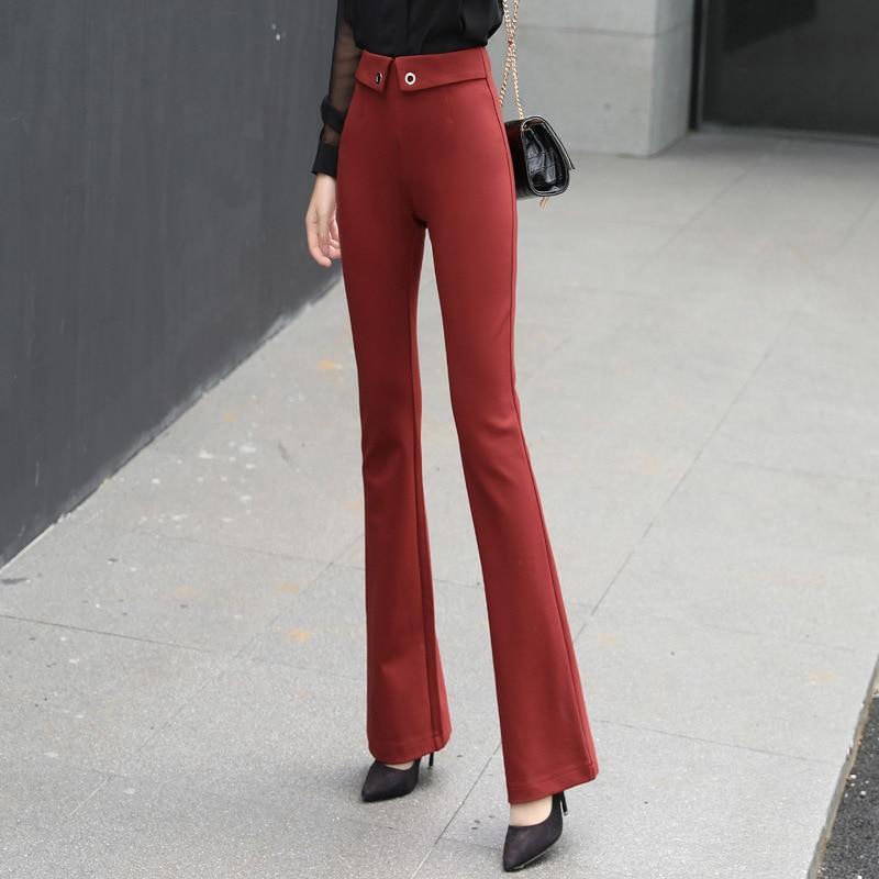 Pantalones De Cintura Alta Para Mujer Pantalones Acampanados Pantalones 2019 Otono Moda Telas Roma Elasticos Para Mujer Pantalones Flacos De Botones Para Chicas Fashion Trousers Trousers Girlspants Trousers Aliexpress