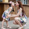 2016 new summer dress girl mother and daughter clothes matching family look sleeveless dresses baby girl clothing flower print