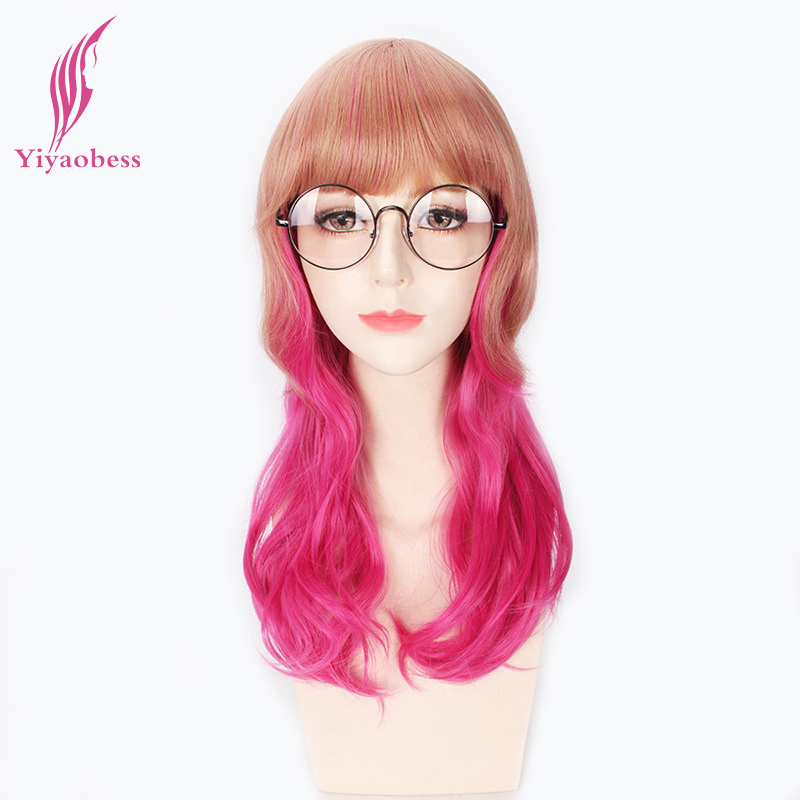 Yiyaobess 18inch Brown Rose Red Ombre Wavy Wig Cosplay Heat Resistant Synthetic Long Mix Color Wigs For Girl