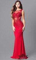 Hot Red Appliques Mermaid Trumpet Vestido de festa Evening Dresses 2017 New Arrive lace A line full length bidemaids dress